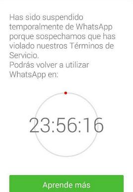 whatsapp suspendido