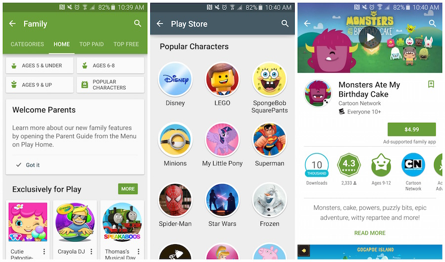 Google Play Family section